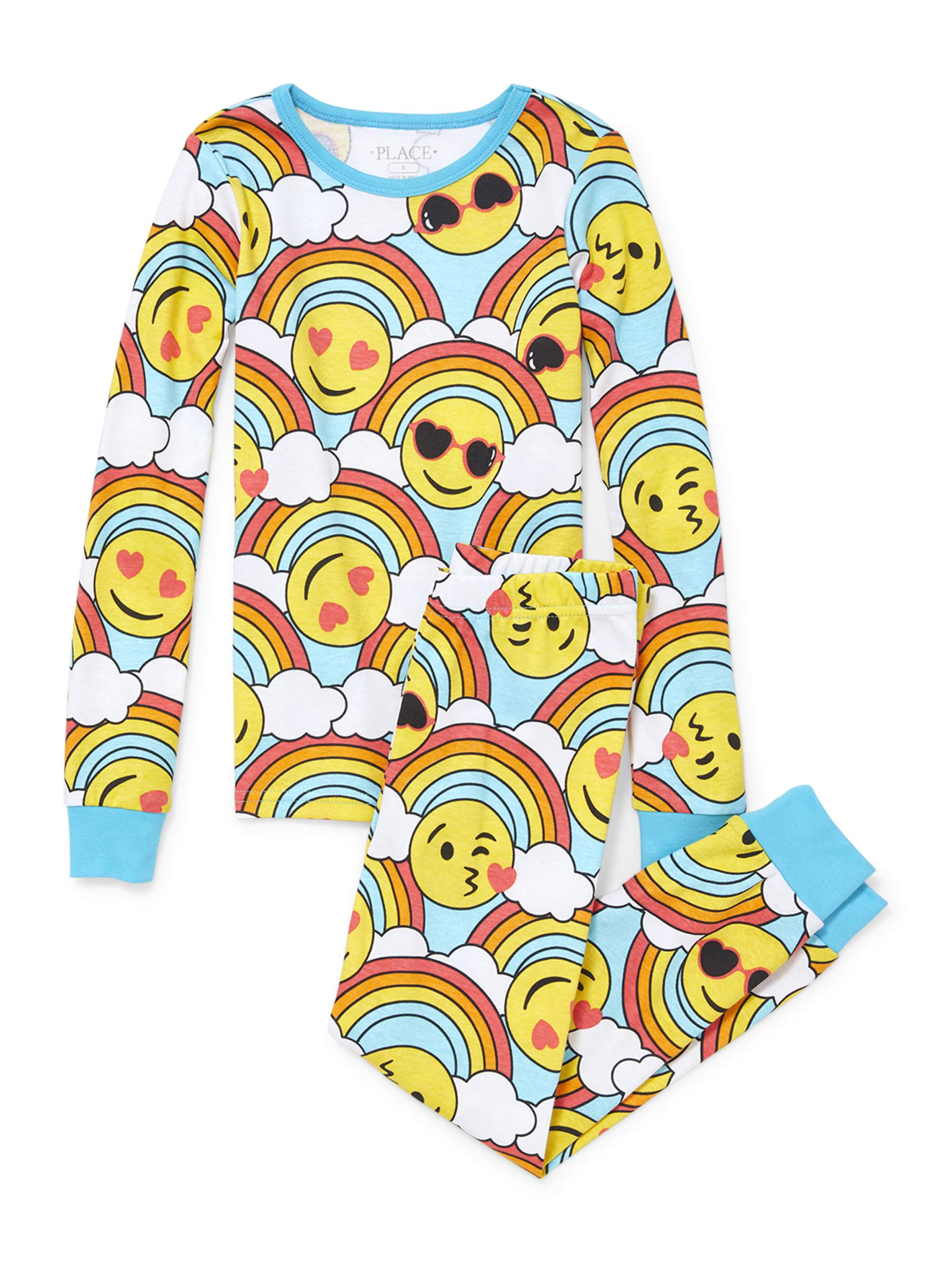 Girl's Emoji Long Sleeve Pajamas (Big Girl & Little Girl)