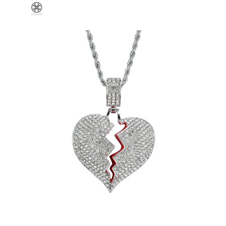 Luxtrada Broken Heart Iced Out Chain Pendant Necklace Cubic Zircon Necklace Hip Hop Mens Womens Jewelry Gift