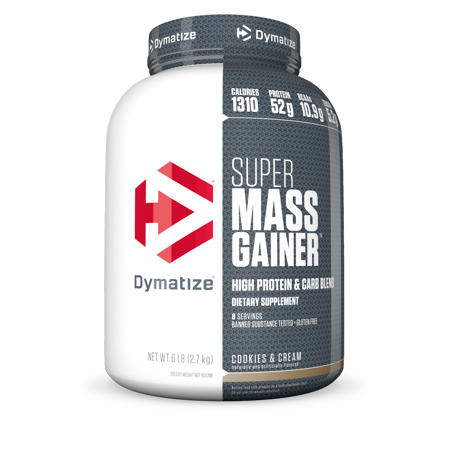 Mass Gainer Cookies (Dymatize Super Mass Gainer, High Protein & Carb Blend, Cookies & Cream, 52g Protein/Serving, 6)