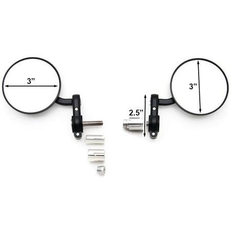 "Black Bar End Mirrors Round 3"" Convex Mirror 7/8"" For Honda VTR 1000 Interceptor Super Hawk - image 2 of 3"