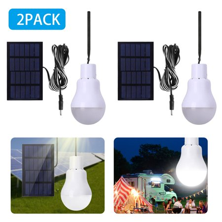 2-pack Portable Solar Powered LED Lantern Tent Light Bulb Flyhoom Rechargeable Emergency Lamp for Outdoor Indoor Garden Camping Reading Lighting (Cool White)