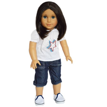 Capris Doll Clothes - My Brittany's Red Star Shirt And Denim Capris For American Girl Dolls