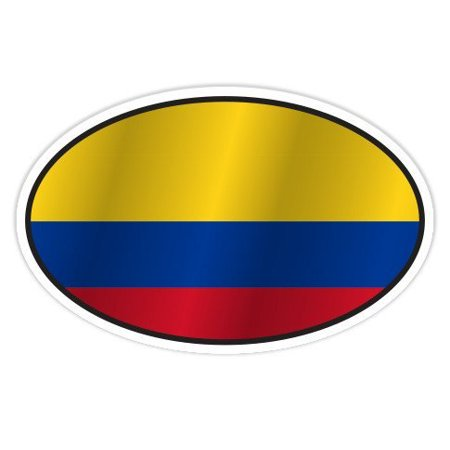 Colombia Flag Oval - Vinyl Sticker Waterproof Decal Sticker 5