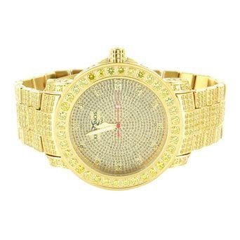 1 Row Yellow Lab Created Cubic Zirconia Bezel Gold Finish Real Diamond Dial Wrist Watch
