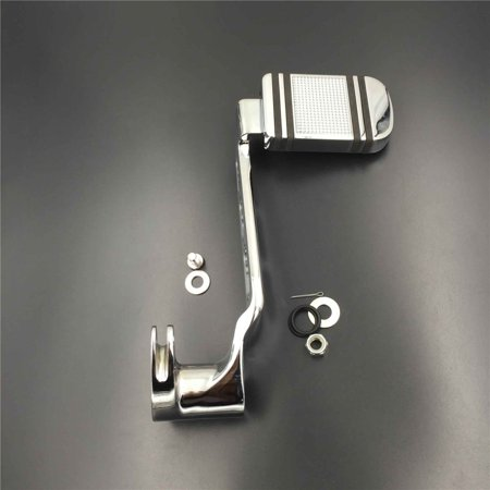 HTT Motorcycle Chrome Three-Hollow-Out Rear Brake Lever Brake Pedal Foot Lever with Aluminum Brake Pad Fit Touring Trike Model Road King Street Glide CVO Tri Glide (2014-later)