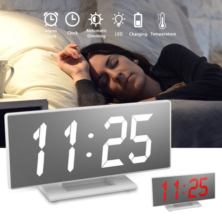 TSV Digital Alarm Clocks, Electronic led Alarm Clocks with Date Temperature  Portable Smart Mirror Clock with USB Charger for Bedroom Office & Travel