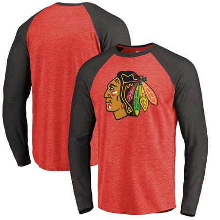 Chicago Blackhawks Fanatics Branded Showtime Raglan Tri-Blend Long Sleeve T-Shirt - (Detroit Red Wings Vs Chicago Blackhawks Highlights)