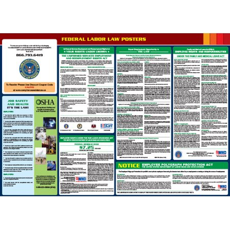 Compliance Assistance: 2018 Federal All-In-One Labor Law Poster- Up to Date, Thick Lamination, Compact, OSHA Compliant (Osha Compliance Posters)