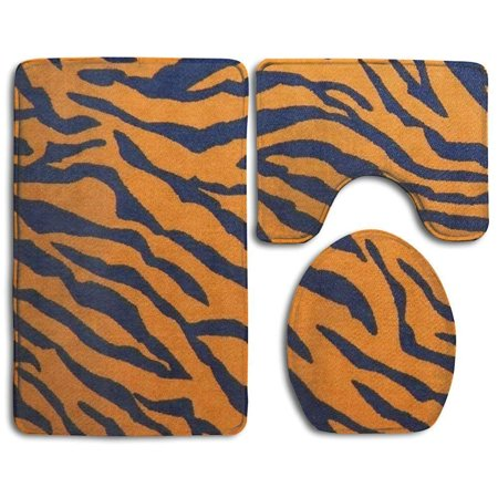 EREHome Tiger 3 Piece Bathroom Rugs Set Bath Rug Contour Mat and Toilet Lid Cover - image 2 of 2