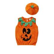 Xingqing Toddler Baby Girls 2Pcs Halloween Costume Sleeveless Cartoon Pumpkin Printed Tank Tops Vest + Hat Clothes Set