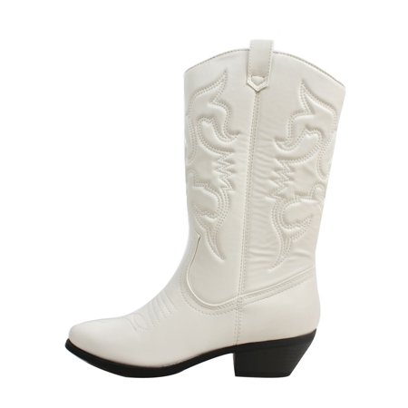 a9ea143467a Reno White Soda Cowboy Western Stitched Boots Women Cowgirl Boots Pointy  Toe Knee High