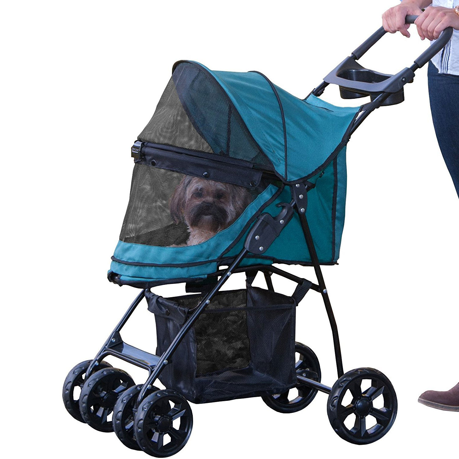 Pet Gear Happy Trails Lite No Zip Small Dog Stroller up to 25 Pounds, Pine Green