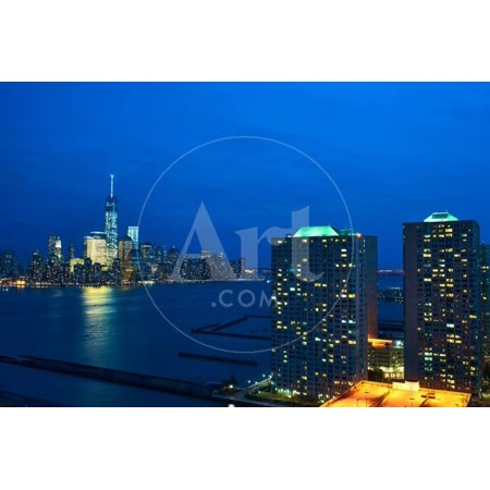 New York City Manhattan Skyline with One World Trade Center Tower (Aka Freedom Tower) over Hudson R Print Wall Art By (New York Skyline One World Trade Center)