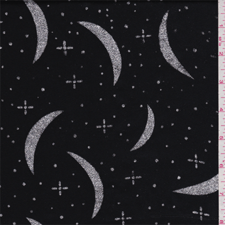 Mini Printed Satin - Black/Silver Crescent Satin, Fabric Sold By the Yard
