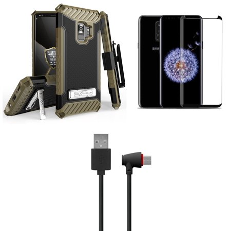 Beyond Cell Tri Shield [Military Grade - MIL-STD 810G-516.6] Holster Case (Black / Brown), Glass Screen Protector, [90 Degree / Right Angle] USB Type C Cable, Atom Cloth for Samsung Galaxy S9 (Screen 90 Degree Angle)