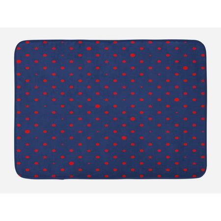 - Navy Bath Mat, Polka Dots Star Figures Background Artsy Retro Style Little Circles Illustration, Non-Slip Plush Mat Bathroom Kitchen Laundry Room Decor, 29.5 X 17.5 Inches, Dark Blue Red, Ambesonne