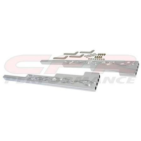 CFR HZ-6061C-2 9.5 mm Flamed Chrome Billet Aluminum Wire Loom Set - Chevy, Ford & Mopar