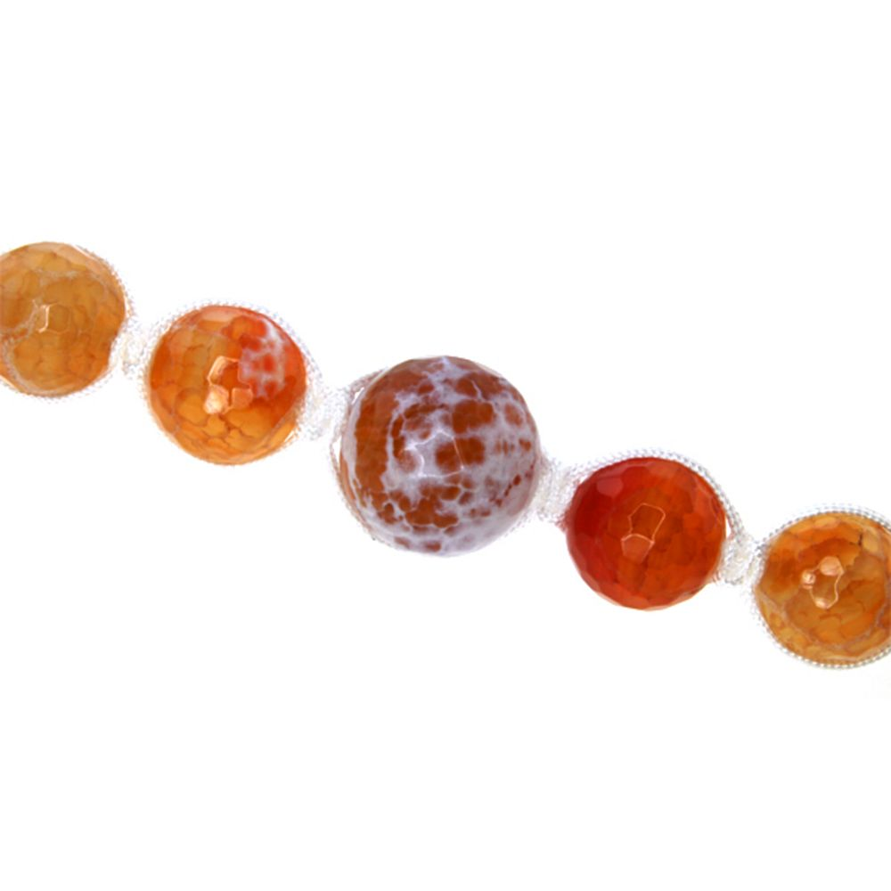 "18"" Orange Agate Faceted Round Beads in White Lace Adjustable Necklace (18""-24"")"