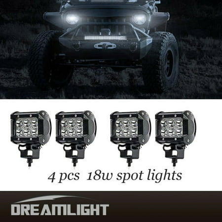 Cool 4 Pcs 18W 4 Inches Cree Led Work Light Bar Spot Beam 30 Degree Off Road Driving 4Wd Suv Ute Atv Boat Car Vehicle Outdoor Lamp 2 Pairs Home Remodeling Inspirations Basidirectenergyitoicom