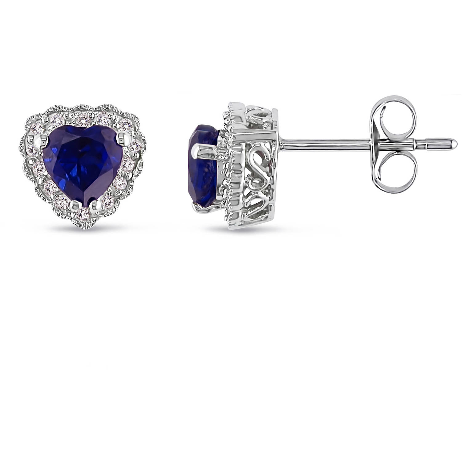 1 Carat T.G.W. Sapphire and Diamond Accent Heart Shape 10kt White Gold Stud Earrings