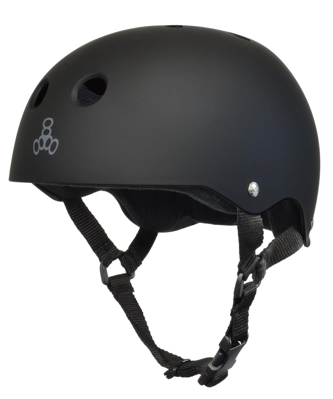 Triple 8 (All Black Rubber) Skateboard Helmet By Triple Eight by