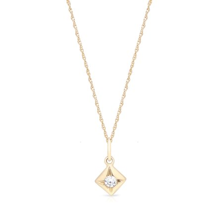 Round Cubic Zirconia Pendant in 14K Gold Plated Sterling Silver Gold Round Dome Pendant