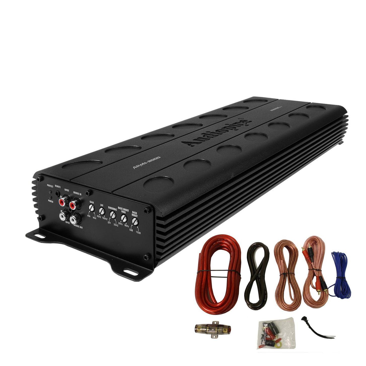 Audiopipe APMI-2000 2000 Watt Class D Mono Amp 1 Ohm Car Amplifier & Wire Kit