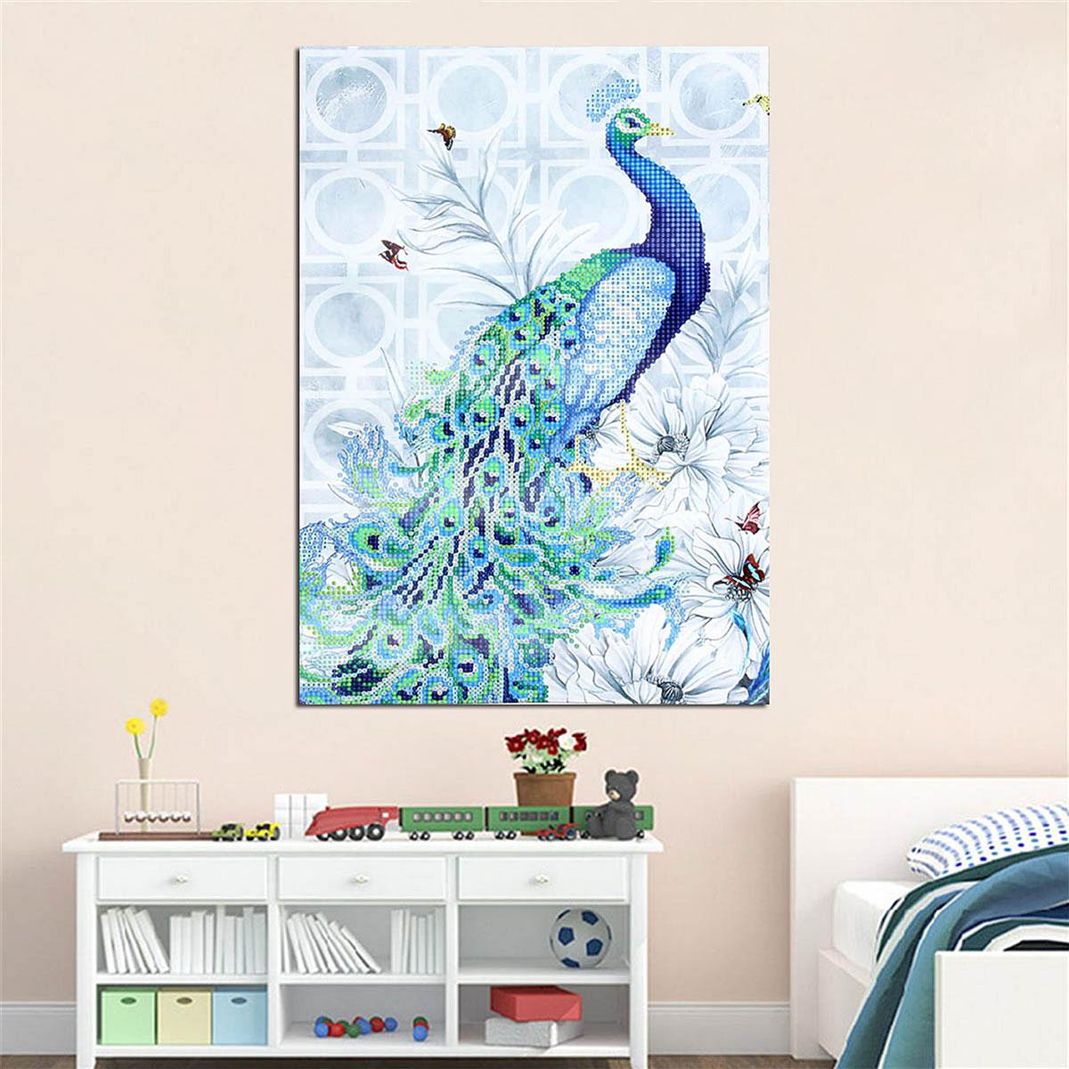 No Frame 5D Diamond Embroidery Painting DIY Blue Peacock Craft Home Decor
