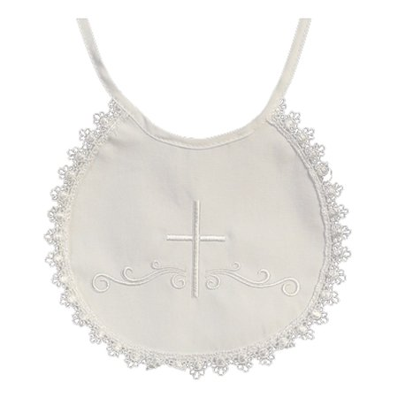 Baby Girls Boys White Embroidered Cross Cotton Lace Trim Christening Bib Girls Christening Bib