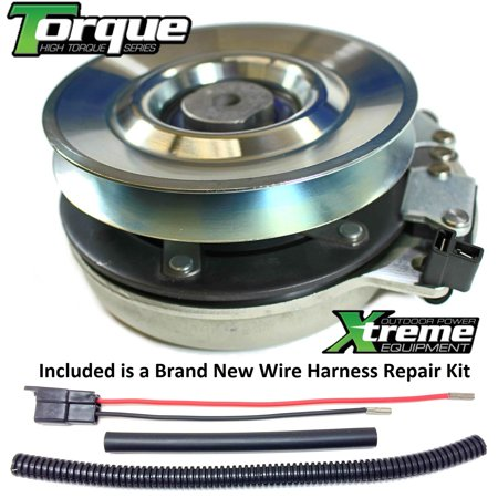 Bundle - 2 items: PTO Electric Blade Clutch, Wire Harness Repair Kit.  Replaces Hustler Excel PTO Clutch 601326 -Upgraded Bearings w/Harness Repair Kit