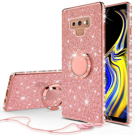 buy popular 4d25c 8d98f Galaxy Note 9 Case,Samsung Galaxy Note 9 Cute Glitter Phone Case Kickstand  Bling Diamond Rhinestone Bumper Ring Stand Shock Proof Sparkly Clear Cover  ...
