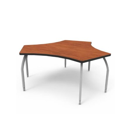 Wisconsin Bench ELO7171-EJASS-AA Elo Plymouth Desk with Wild Cherry Laminate & 4 Junior Adjustable Smooth Silver Legs - 21-26 x 27.5 x 20