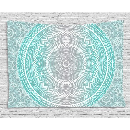 Grey and Aqua Tapestry, Ombre Traditional Universe Symbol with Tribal Geometric Mandala Zen Artwork, Wall Hanging for Bedroom Living Room Dorm Decor, 60W X 40L Inches, Aqua Grey, by Ambesonne ()