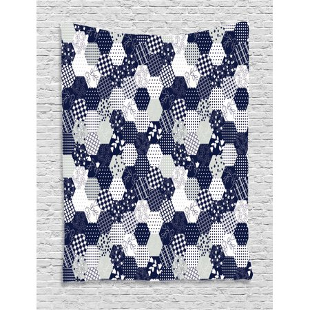 Navy Blue Tapestry, Octagon Patchwork Style Pattern Image with Dots Stars Squares and Stripes, Wall Hanging for Bedroom Living Room Dorm Decor, Navy and White, by Ambesonne