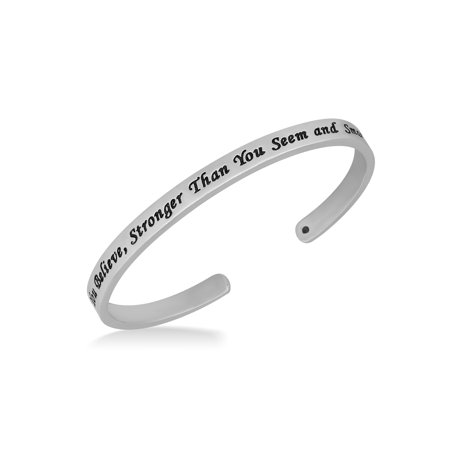 Sterling Silver ''You are braver than you believe'' Cuff Bracelet
