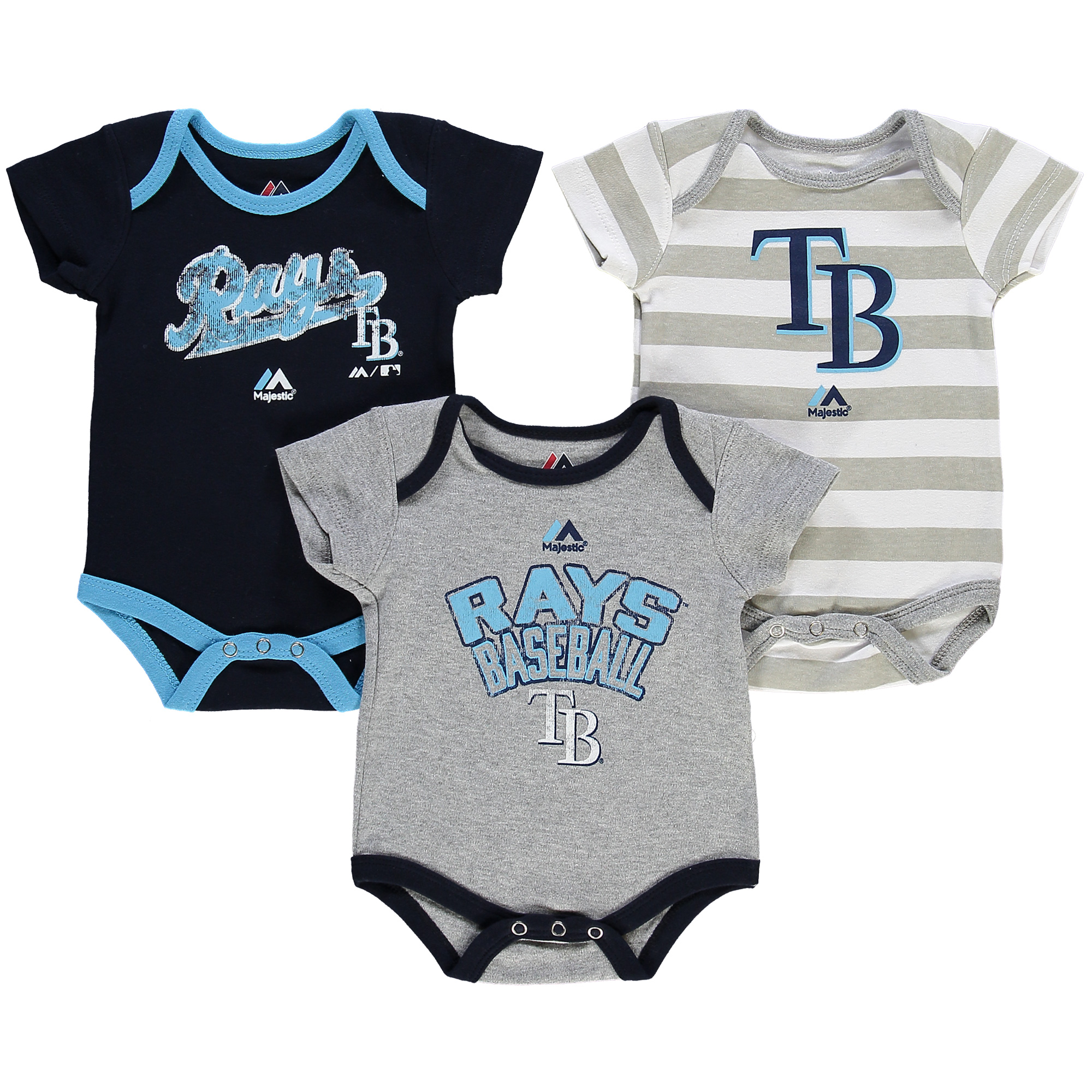 Tampa Bay Rays Majestic Newborn Triple Play 3-Piece Bodysuit Set - Navy/Gray -