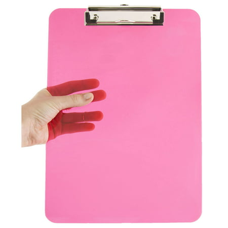 JAM Paper Plastic Clipboards, 9 x 13 in, Pink Clipboards, Pack of 12
