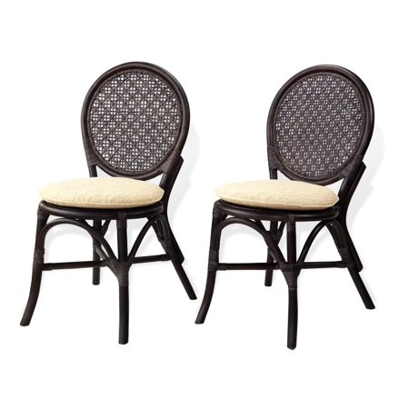 SK New Interiors Set of 2 Denver Dining Armless Accent Wicker Side Chair Handmade Dark