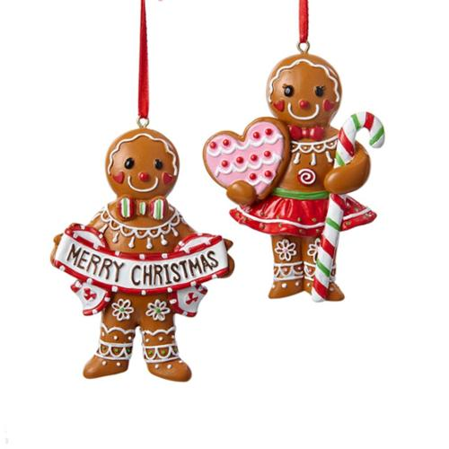 """3.5"""" Gingerbread Kisses Brown Cookie Girl with Candy Cane Decorative Ornament"""