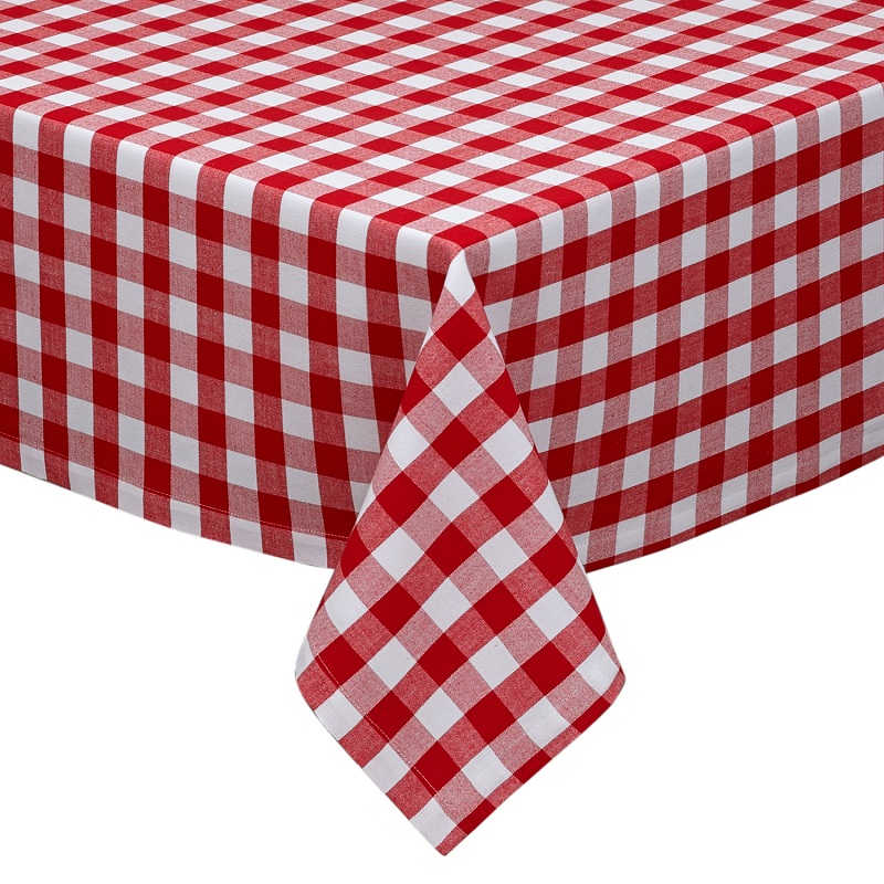 Country Classic Brick Red & Pure White Checkered Square Table Cloth 52 x 52""