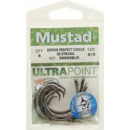 Mustad Ultra Demon Circle Hook Black Nickel 5Pk 3X Sz9/0 Md#: 39950NP-BN-9/0-5