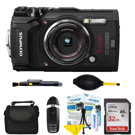 Olympus Tough TG-5 Digital Camera (Black) with 32 GB pro kit