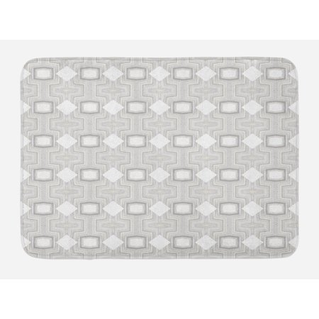 Abstract Bath Mat, Optical Futuristic Pattern Design with Modern and Geometric Elements, Non-Slip Plush Mat Bathroom Kitchen Laundry Room Decor, 29.5 X 17.5 Inches, Grey Beige and White, Ambesonne