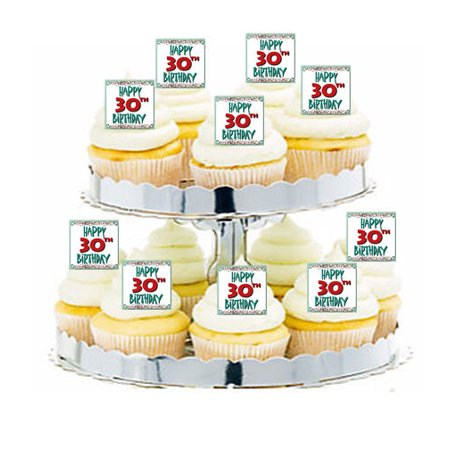 24pk Happy 30th Birthday Edible Cupcake  Decoration Toppers / Picks](Cupcake Pics)