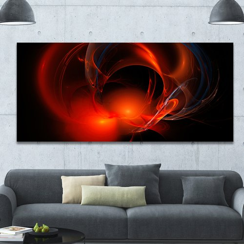 Design Art 'Red Galactic Nebula on Black' Graphic Art on Wrapped Canvas