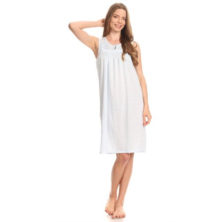 Blue Nightgown (0079 Women Pajamas Night Gown Sleepwear Night Shirt Blue M )