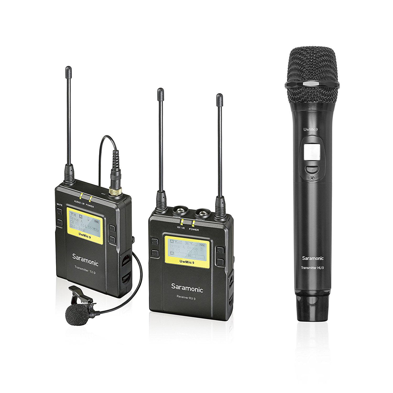 Saramonic UWMIC9 UHF Wireless Lavalier + Handheld Microphone System with Bodypack... by Saramonic