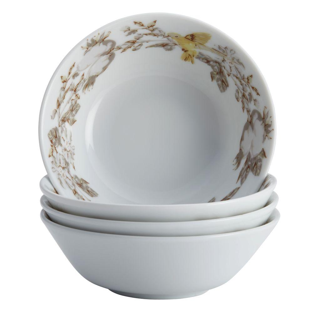 BonJour Dinnerware Fruitful Nectar Porcelain 4-Piece Fruit Bowl Set, Print