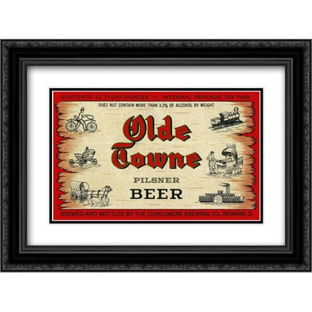 Olde Black Pottery (Olde Towne Pilsner Beer 2x Matted 24x18 Black Ornate Framed Art Print by Vintage Booze Labels)