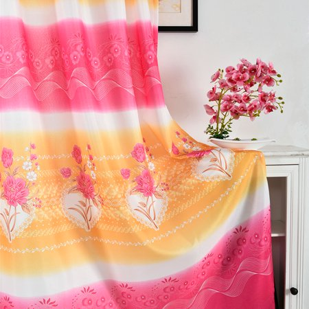 Sonew Simple Style Rose Flower Print Stripe Pattern Window Curtain for Home Bedroom,Curtain, Home Bedroom Curtain - image 1 of 8